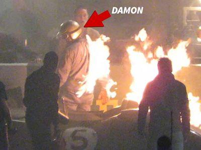 Matt Damon Lights Up on Fire on 'Ford v. Ferrari' Set