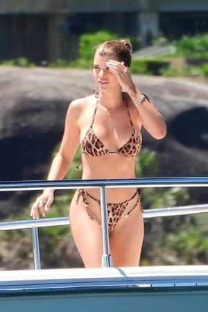 Sofia Richie Rocks Leopard Print Bikini with Scott Disick