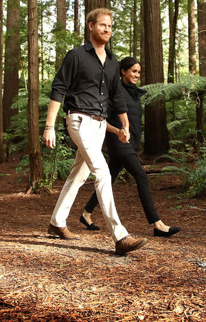 Pregnant Meghan Markle Walks in New Zealand Redwoods with Prince Harry