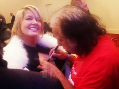Ron Jeremy Signs Boobs & Gives Eulogy at Dennis Hof's Memorial Service