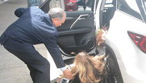 Elle Macpherson Takes a Nasty Fall Getting Into Her Car