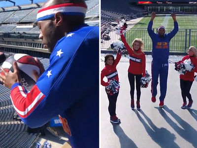 Harlem Globetrotters Hit Insane Trick Shots With Patriots Cheerleaders