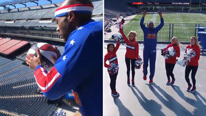 Harlem Globetrotters Hit Insane Trick Shots With Patriots Cheerleaders