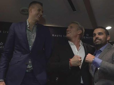Kristaps Porzingis Hits NYC Party With Ivan Drago, 'How Tall Are You, Man!?'