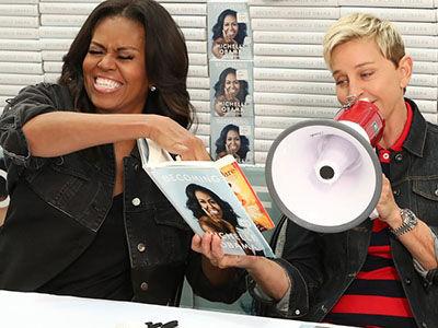 Michelle Obama Shows 'Ellen' Her Barack Obama Impression, SHADES Trump Over Inauguration Crowd Size