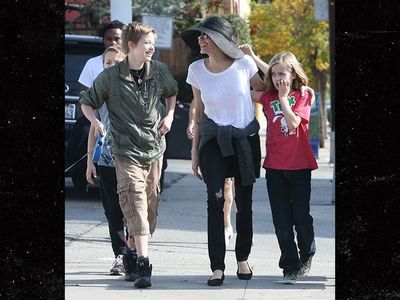 Angelina Jolie & Kids Go for a Dog Walk Amid Custody War with Brad Pitt