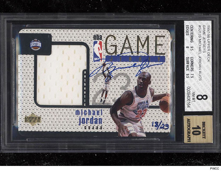 323aa6704c0 Make sure you're sitting down for this one ... a super rare Michael Jordan  trading card just sold for an INSANE $95,000!!! ... TMZ Sports has learned.