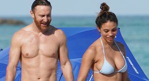 David Guetta Shirtless in Miami But Hot GF Steals the Show with Diamond Ring