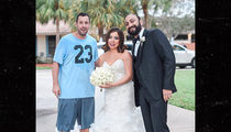 Adam Sandler Poses with Bride & Groom After Game of Pick-Up Basketball