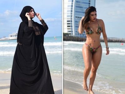 Model Liziane Gutierrez Wears Burka AND Bikini in Dubai