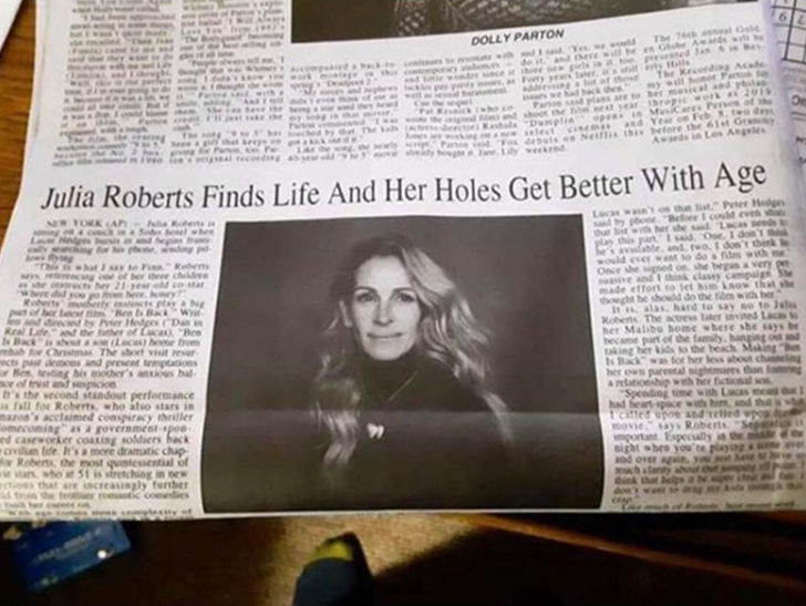 By now, Julia Roberts is totally used to media outlets sucking up to her, but an NY newspaper took it to the next level.