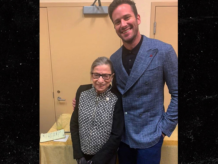 """Armie Hammer and Justin Theroux meet the real Ruth Bader Ginsburg on the basis of, """"Hey, we're in D.C."""""""
