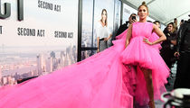 Jennifer Lopez Shows Out in Massive Pink Dress for 'Second Act' Premiere