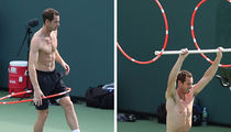 Andy Murray Does Hula Hoop Workout at Tennis Center