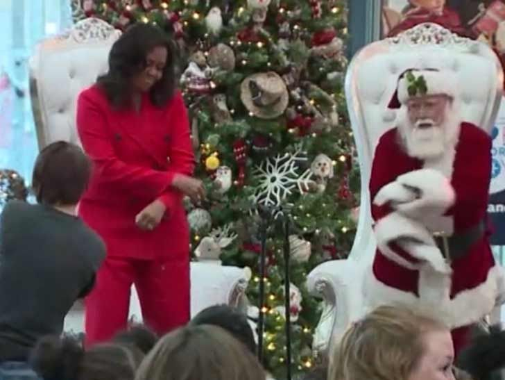 Michelle Obama Spreads Holiday Cheer with Santa Dance