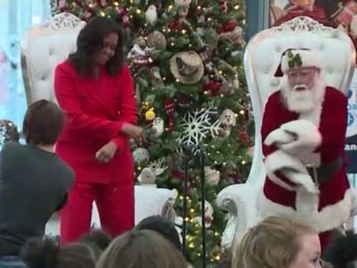 Michelle Obama Does Fortnite Dance with Santa Claus at Awesome Children's Event