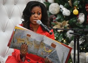 Michelle Obama Gets Festive With Santa Claus