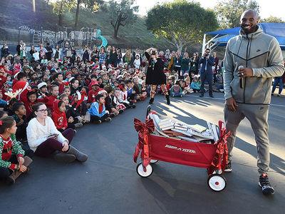 Kobe Bryant Surprises School Kids, Brings Books & Plays Games