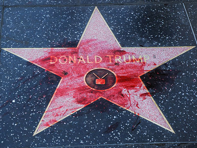 Donald Trump's Hollywood Walk of Fame Star Doused with Fake Blood, After Swastikas