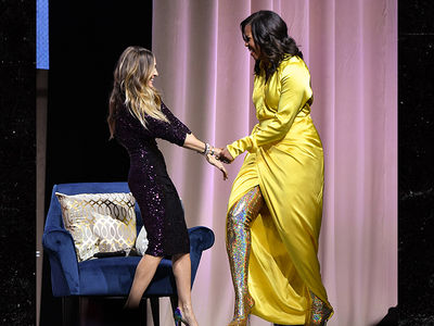 Michelle Obama Slays on Her Book Tour, Wearing Thigh-High Balenciaga Boots