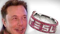Elon Musk Gifted Super Baller Tesla Ring with Brilliant White Diamonds