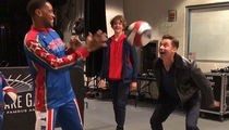 Hugh Jackman Gets a Ball-Handling Lesson from the Harlem Globetrotters