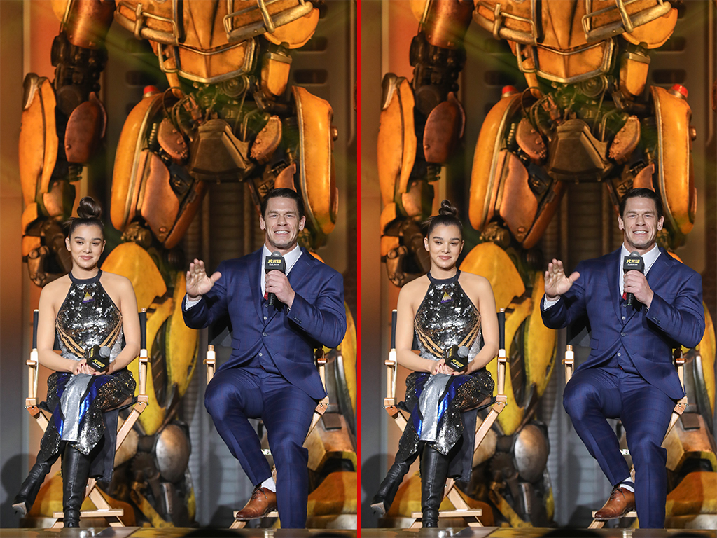Can you spot the THREE differencecs in these John Cena and Hailee Steinfeld photos?