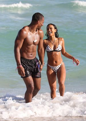 Karrueche Tran and Victor Cruz -- Miami Beach Day