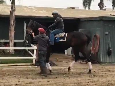 Jockey Victor Espinoza Back on Horse for First Time Since Near-Death Accident