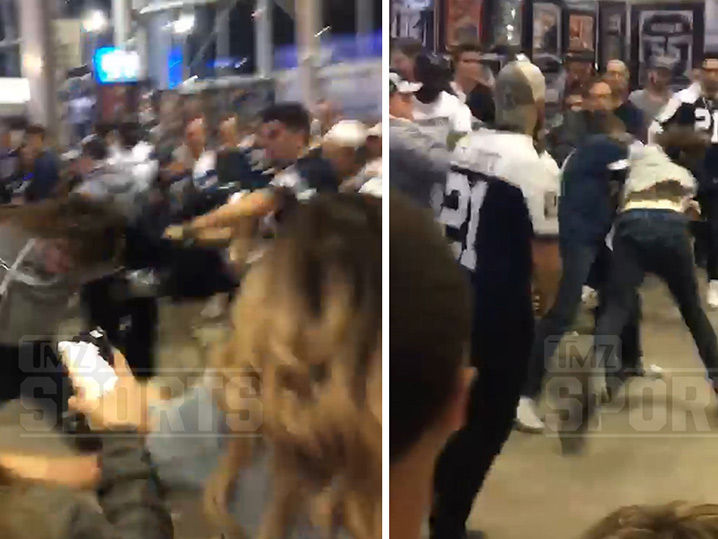 Seahawks Fan Gets Ass Kicked By Cowboys Fans After Playoff Game