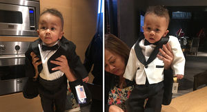 Chrissy Teigen Presents 2 Tux Options to Turn Son Miles Into Mini John Legend