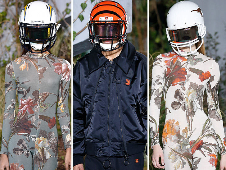 Virgil Abloh's Off-White Show Stars Models in NFL Helmets Because Fashion