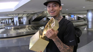 Nyjah Huston's Skateboarding Trophy so Big, TSA Checked it For Drugs!
