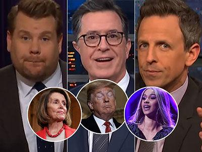 Late-Night Loves Cardi B's Shutdown Shoutout, Dumps on Trump's Petty Pelosi Grounding
