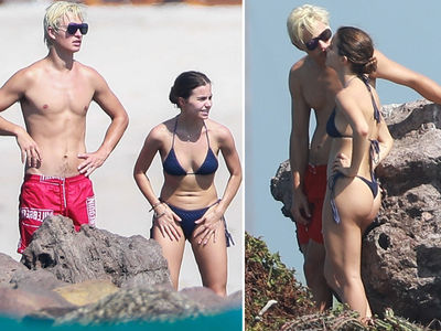Ansel Elgort Goes Blond & Shirtless in Mexico with Hot GF