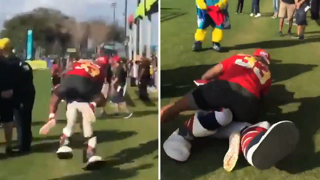 a5cd086c9de Patriots Mascot Dealing With Jaw, Neck Injuries From Jamal Adams Tackle.  Breaking News. Video thumbnail