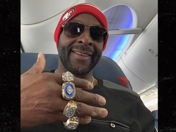 1e6707d8c81 Jerry Rice Rockin  All 3 Super Bowl Rings In Atlanta