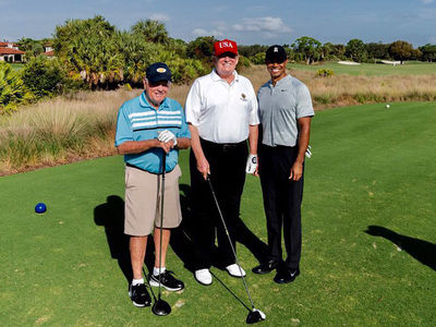 President Trump Golfs With Tiger Woods, Jack Nicklaus in Florida