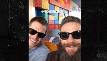 Tom Brady & Julian Edelman Hit Disney World After S.B. Win, Lightsaber Fight!