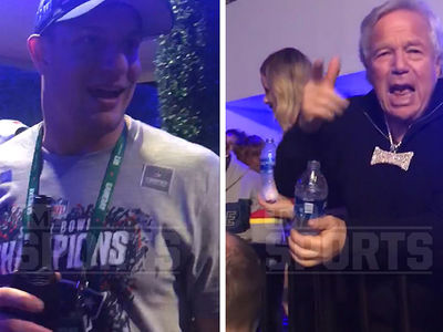 Rob Gronkowski and Bob Kraft 'Big Pimpin'' At Patriots Victory Party