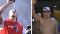 Rob Gronkowski Chugs Beers, Ditches Shirt at Patriots Super Bowl Parade