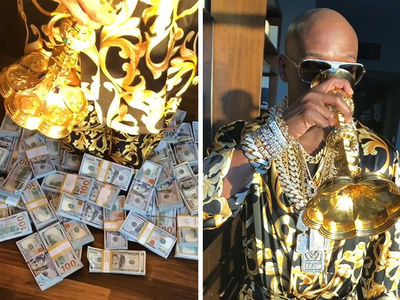 Floyd Mayweather Sips from Solid Gold Chalice While Drippin' In Diamonds