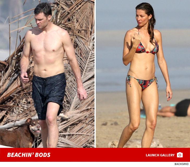Tom Brady & Gisele His & Hers Abs Bangin' Beach Bods In Costa Rica