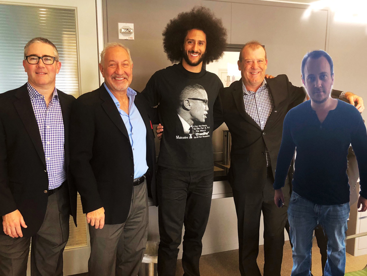 a525e2fb5f8 Colin Kaepernick s All Smiles with His Legal Team After NFL Settlement