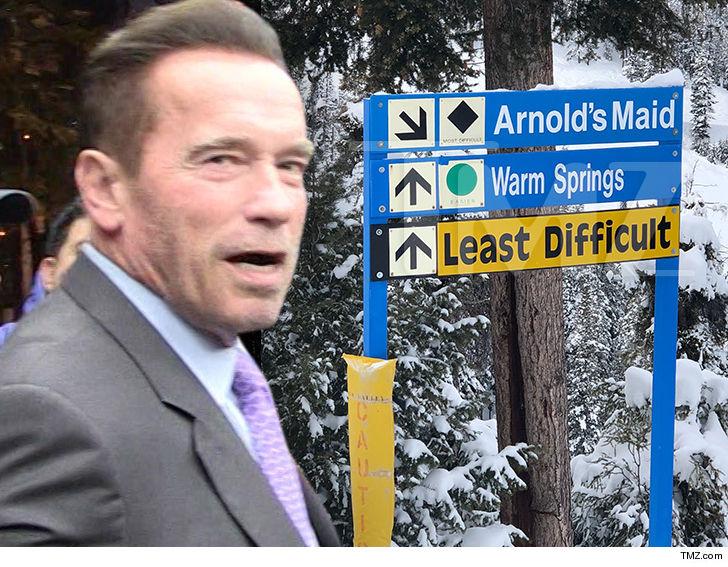 Arnold Schwarzenegger You Can't Ride 'Arnold's Maid' ... Ski Run's a Prank!!!