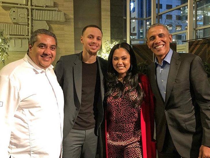 Barack Obama Eats at Ayesha Curry's Restaurant with Steph, Chrissy & John Legend