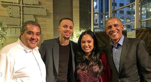 Barack Obama Eats at Ayesha Curry's Restaurant with Steph, Chrissy & John Legend