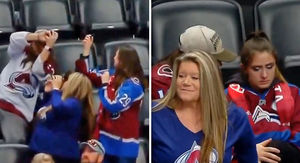 Avalanche Fan Is Worst Boyfriend Of All Time In Puck-Catching Incident