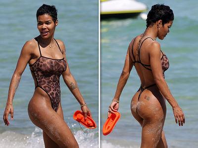 Teyana Taylor Rocks Leopard Print Sheer Thong Bodysuit in Miami
