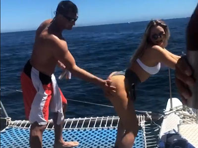 Rob Gronkowski Gets Handful of Booty While Camille Kostek Twerks on a Boat